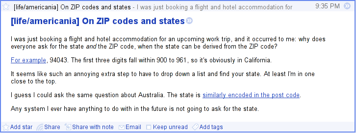 The same blog post rendered in Google Reader