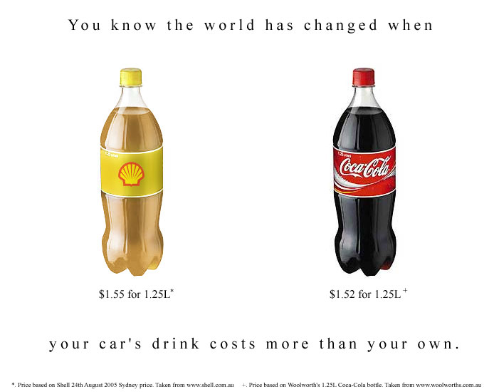 You know the world has changed when your car's drink costs more than your own.