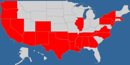US states I've visited as of February 2013